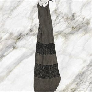 Grey Maxi Floral Mesh Dress - Size Small